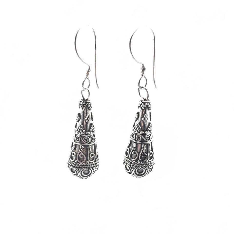 Dangle Ethnic Silver Earrings - Earrings