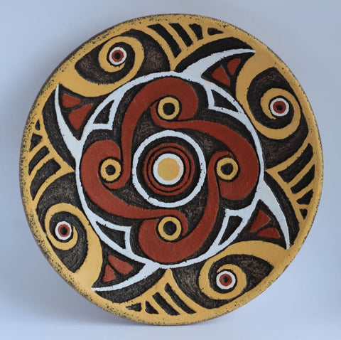 Decorative Ceramic Plate Trypillian Flower - Vasylchenko1