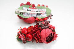 Decorative Hair Clips Red Flowers - Vasylchenko1