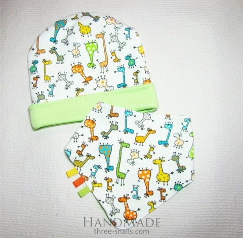 Double Sided Lime Baby Hat And Bib Giraffe - Baby Clothes