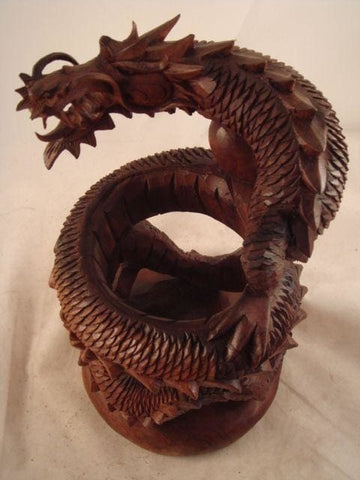 Dragon Artisan Crafted Wood Sculpture - Figurine