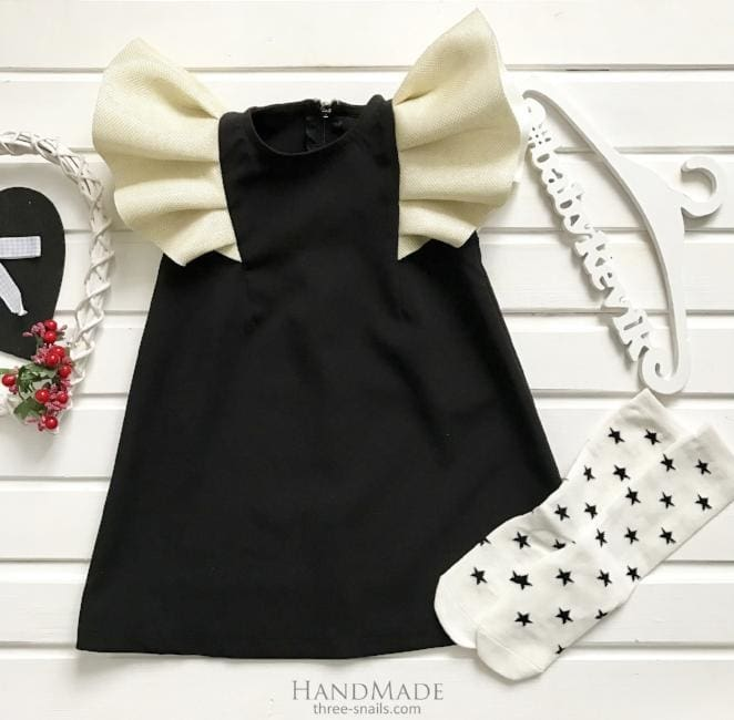 Dress For Infant Girl With Wings - 3 - 6 Mnth (H-68 Cm) / Black / Us - Baby Clothes