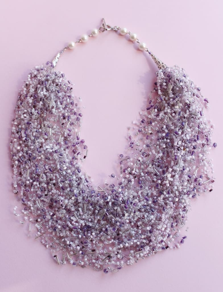 "Earring necklace set ""Tenderness of lilac"" - 1"