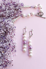 Earring Necklace Set Tenderness Of Lilac - Melnichenko1