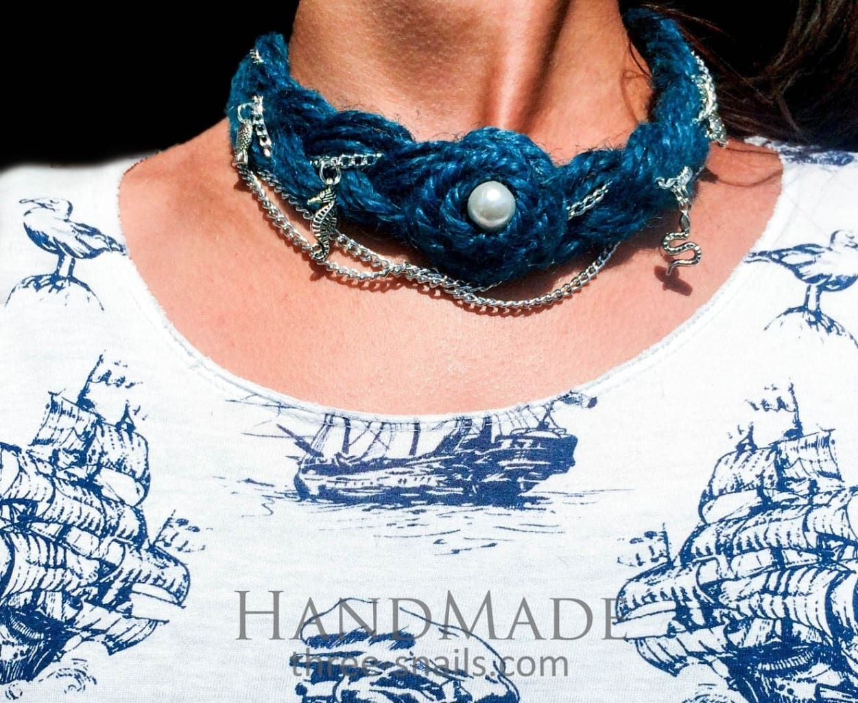 Eco Jute Necklace At The Bottom Of The Sea - Melnichenko1