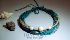 Eco Jute Necklace Sea Stones - Melnichenko1