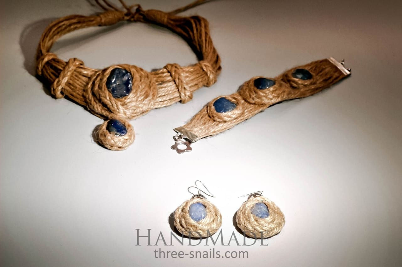 "Eco jute set ""Blue agate"" - 1"