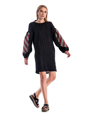 Embroidered Boho Dress Red And Black Jam  - S / Black - Melnichenko1
