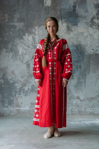 Embroidered Boho Dress Red Temptation - Vasylchenko1