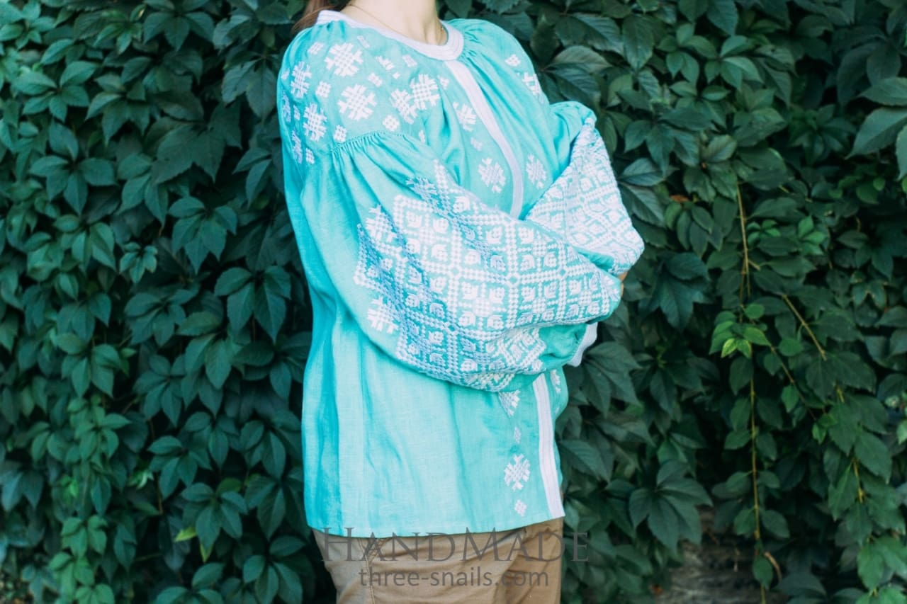 "Embroidered designer's blouse ""Tender turquoise""  - 1"