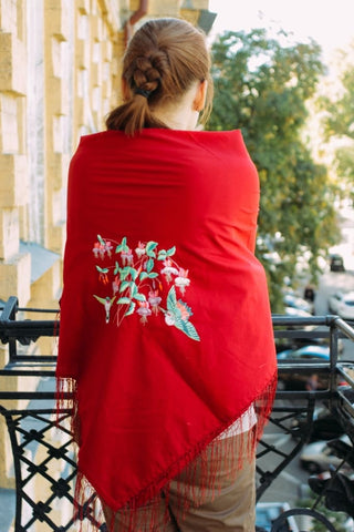 Embroidered Ladies Shawl Hummingbird Heartbeat - Melnichenko1