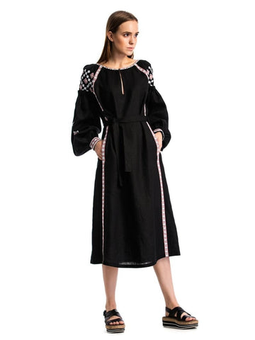 Embroidered Long Dress Black Mystery  - Melnichenko1