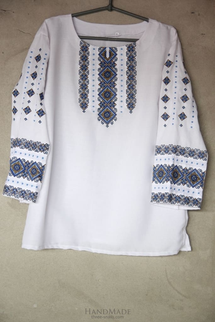 "Embroidered peasant blouse ""Blue lozenge pattern"" - 1"