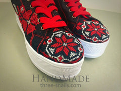 Embroidered Shoes For Women Viburnum Bloom - Vasylchenko1