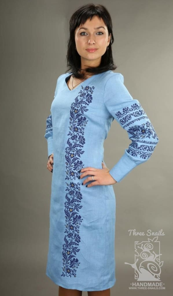 Embroidered Tunic Dress Blue Rain - Melnichenko1