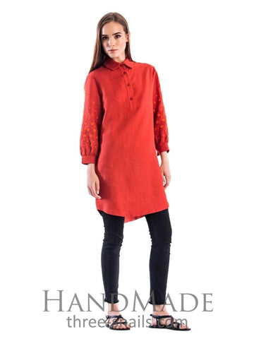 Embroidered Tunic Dress Style - S / Red - Vasylchenko1