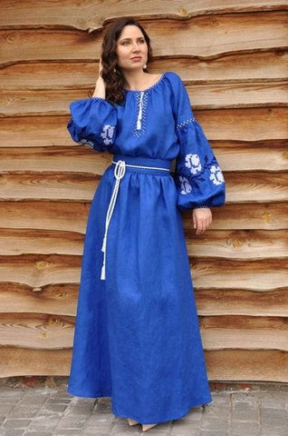 Embroidered Woman Dress Cobalt Rose - Melnichenko1