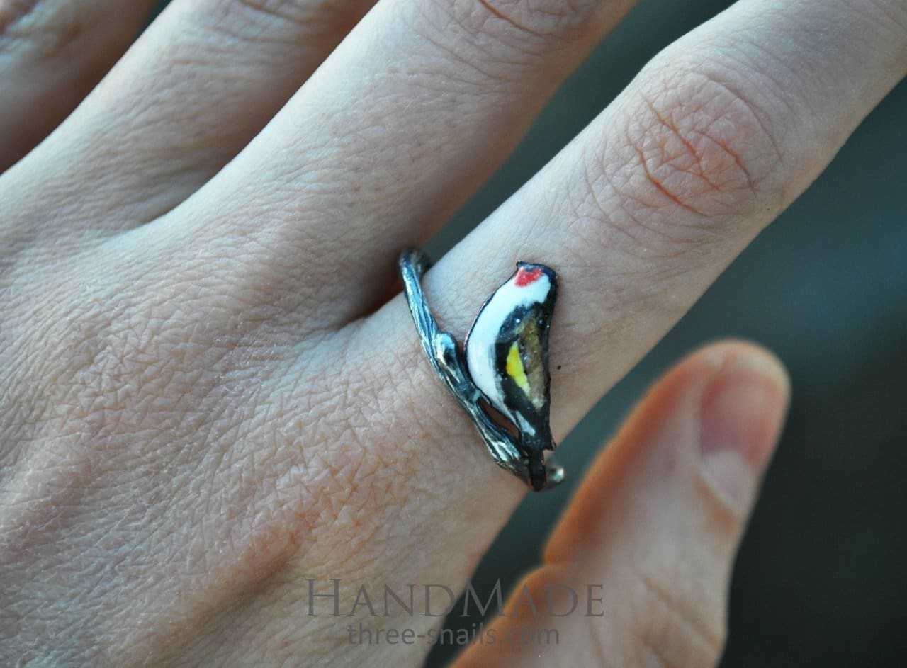 Enamel Sterling Silver Ring Tiny Bird - Vasylchenko1