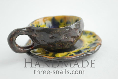 Espresso Ceramic Cup Sunflower - Cup And Mug