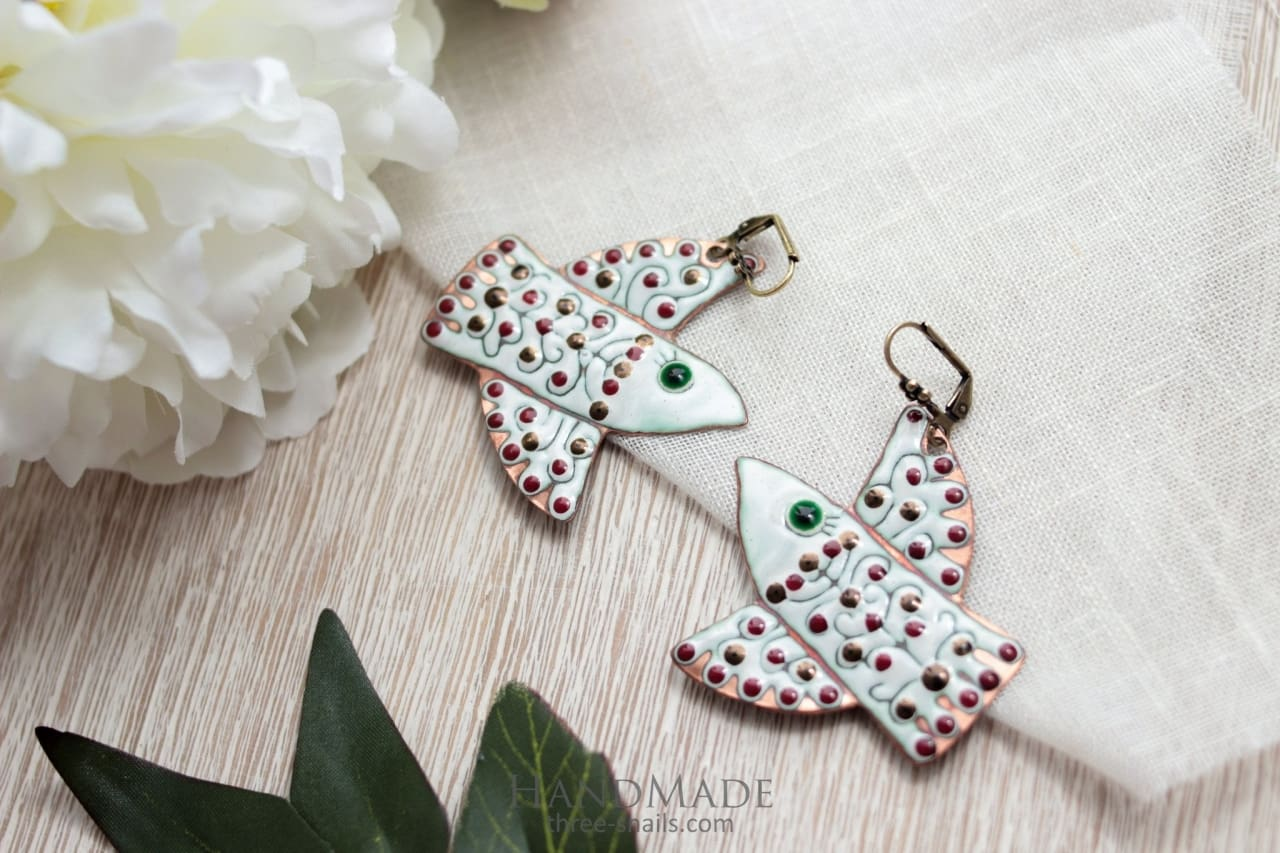 Fashion Earrings White Bird - Vasylchenko1