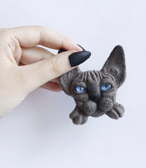 Felt Animals Brooches Taupe Sphinx - Melnichenko1