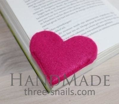 "Felted bookmark ""Pink heart"" - 1"