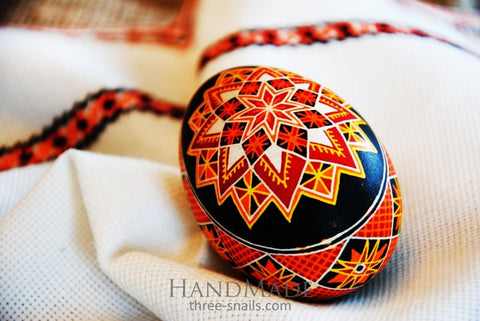 «Flaming Fire» Goose Egg Pysanka (Easter Red Egg) - Vasylchenko1