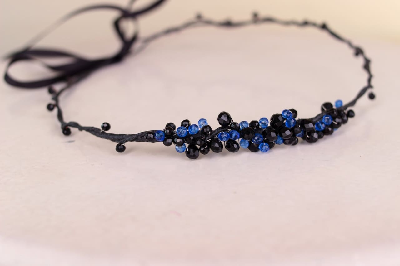"Floral headbands ""Blue crystals"" - 1"