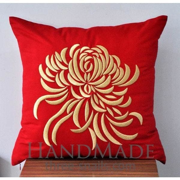 Floral Pillowcase Embroidered Peony - Pillow Cover
