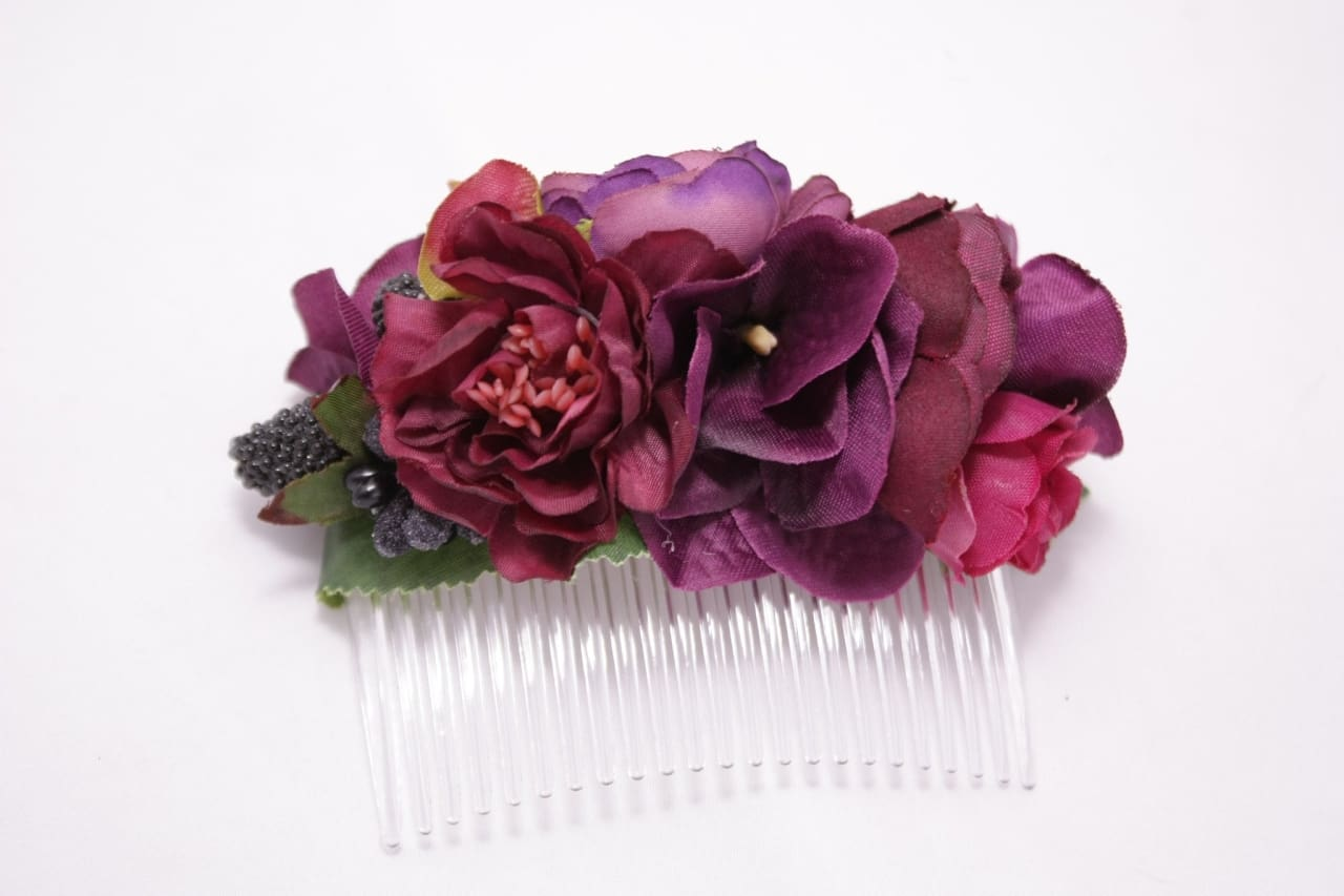 Flower Hair Slide Marsala Wine - Melnichenko1