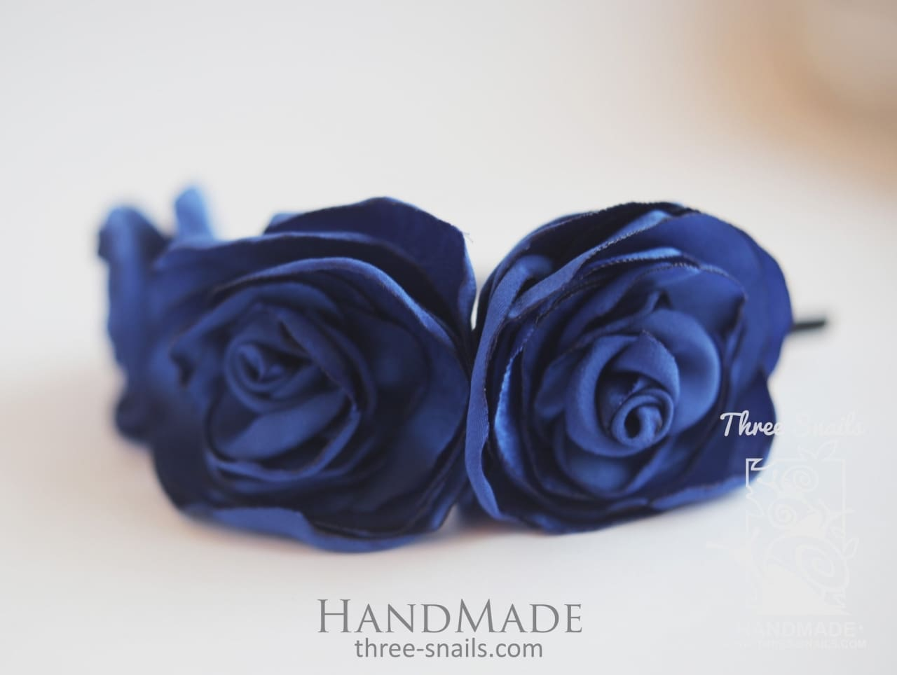 Flower Headband Blue Satin - Melnichenko1