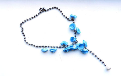 Flower Necklaces For Women Blue Glamoury - Vasylchenko1