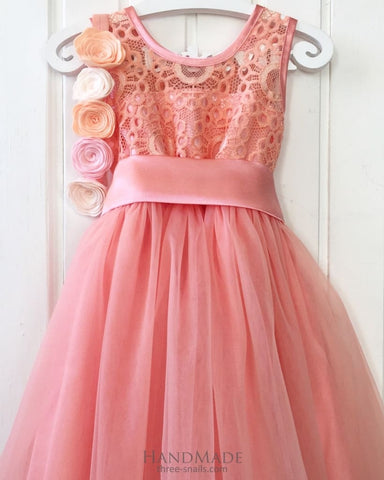 Fluffy Peach Dress For Girls - Baby Clothes