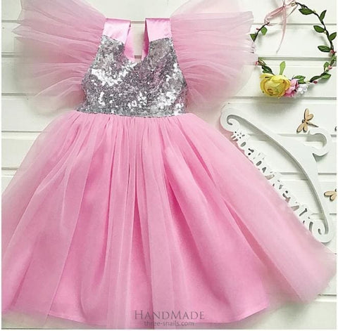 Fluffy Tulle Flower Girl Dress - 3 - 6 Mnth (H-68 Cm) / Pink / Us - Baby Clothes