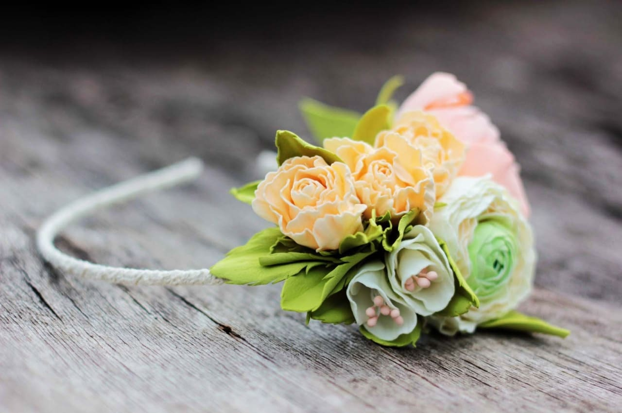 Funky Headbands With Flowers «Fiancee» - Vasylchenko1