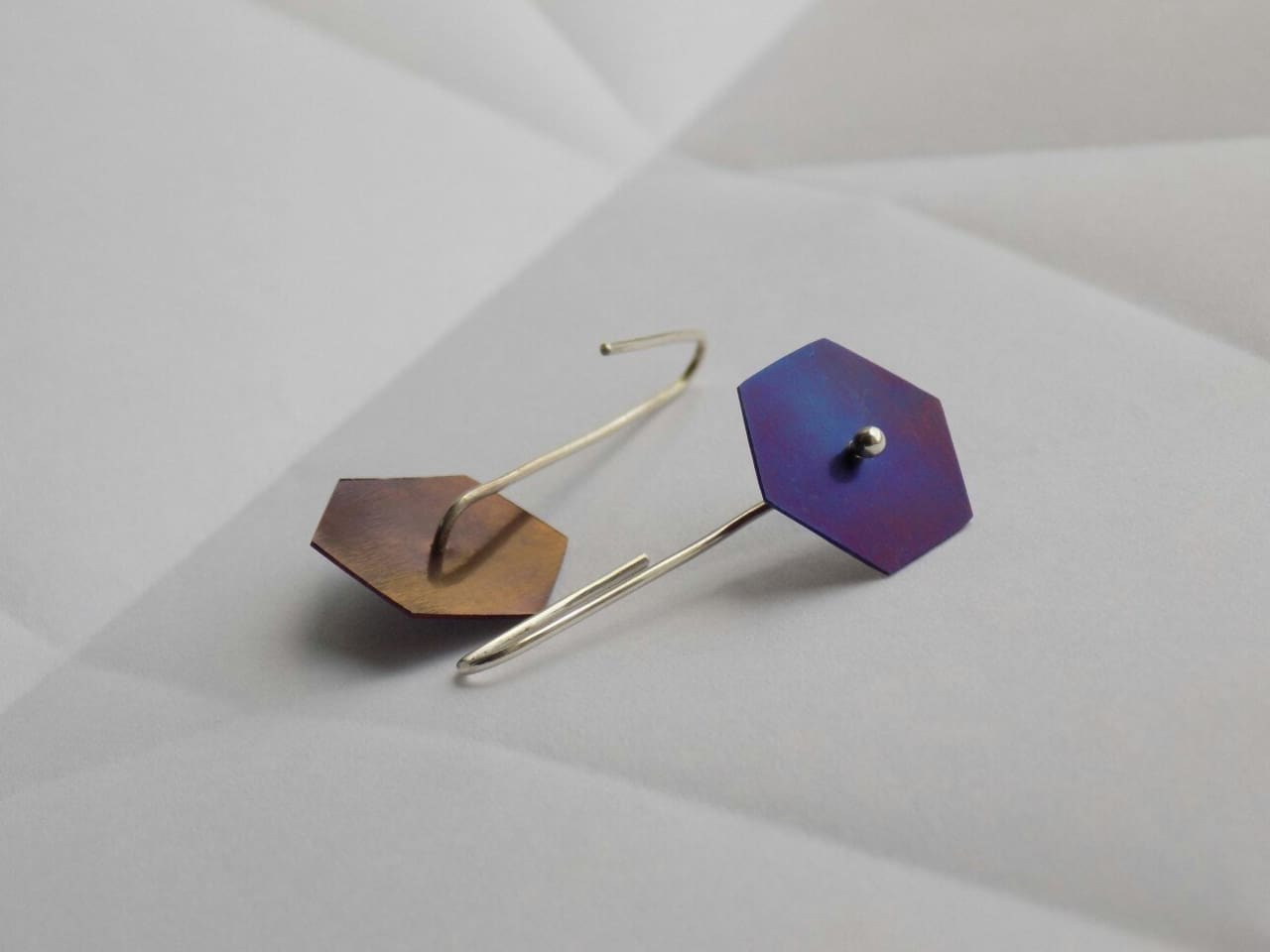 "Geometric dangle earrings ""Violet geometry"" - 1"