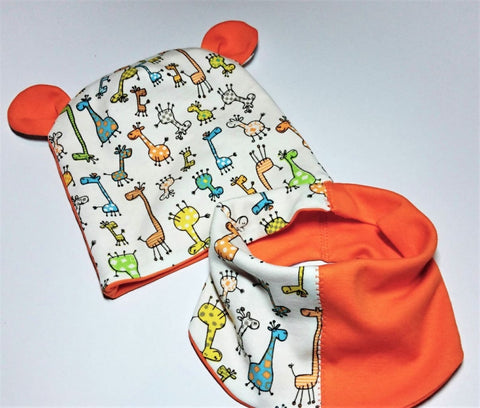 Giraffe Baby Hat With Bandana Funny Giraffes - Baby Clothes