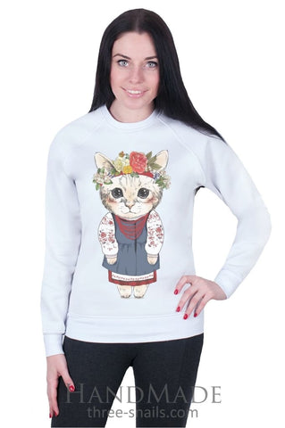 Girls Outfits. White Woman Sweatshirt «Kitten» - Vasylchenko1