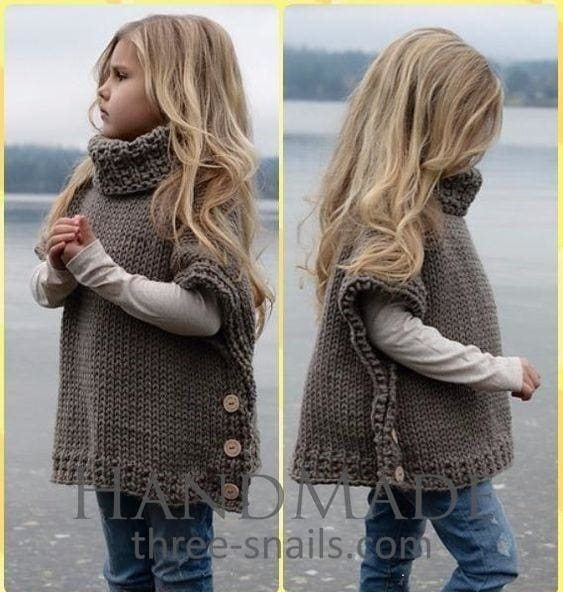 Girls Poncho Sleeveless Cardigan - Baby Clothes