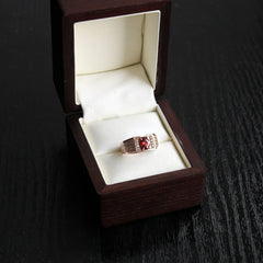 Gold Ring With Red Cubic Zirconia Stone - Popovichenko
