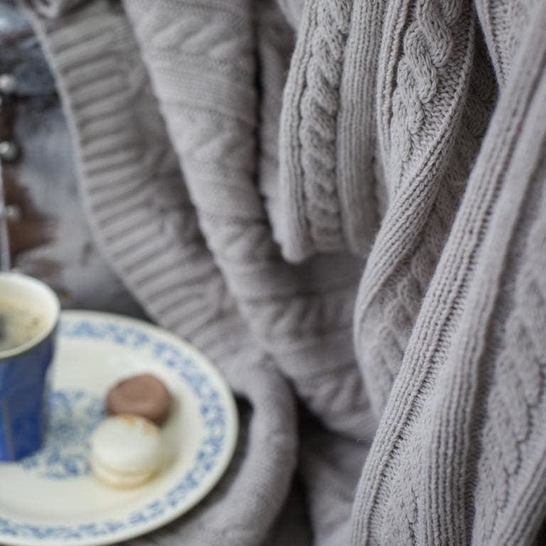 Gray Wool Cable Knit Throw - Blanket