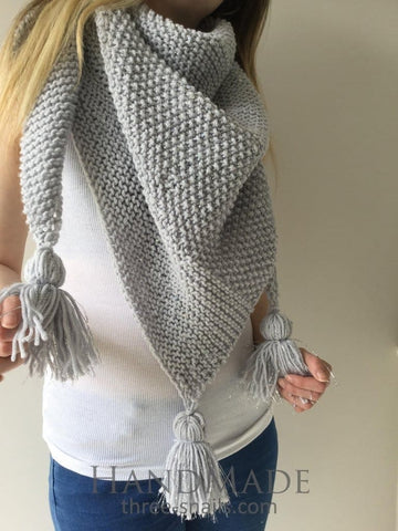 Grey Triangular Scarf - Vasylchenko1