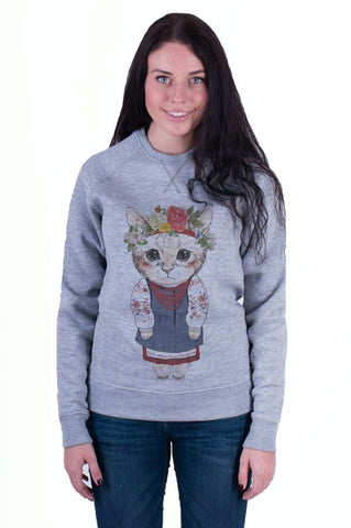Grey Woman Sweatshirt «Kitten» - Melnichenko1