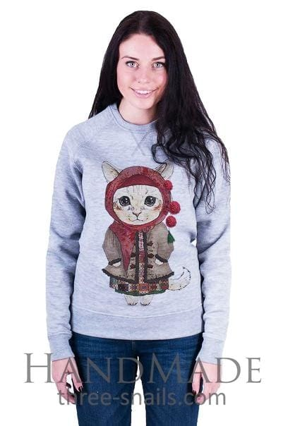 Grey Woman Sweatshirt «She-Kitty» - Melnichenko1