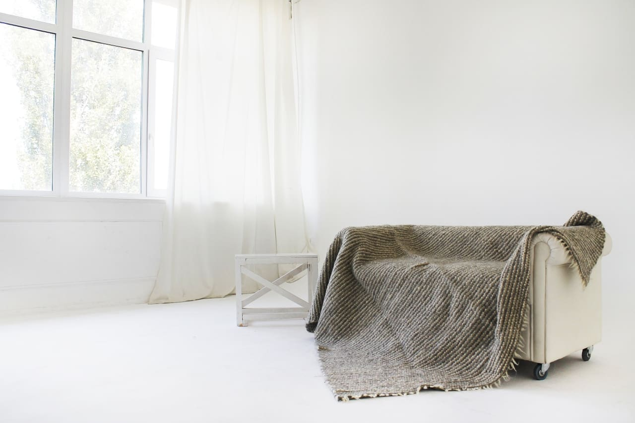 Grey Wool Throw Blanket Striped - Blanket