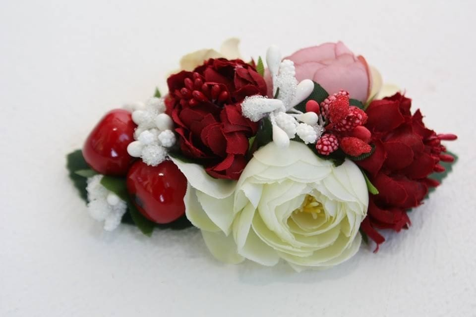 "Hair flower clips ""Red and white"" - 1"