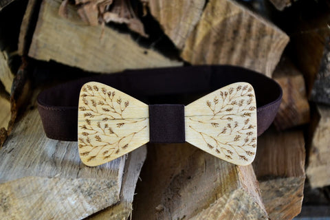 Hand Made Wood Bow Tie - Dark Blue/white / Us - Vasylchenko1