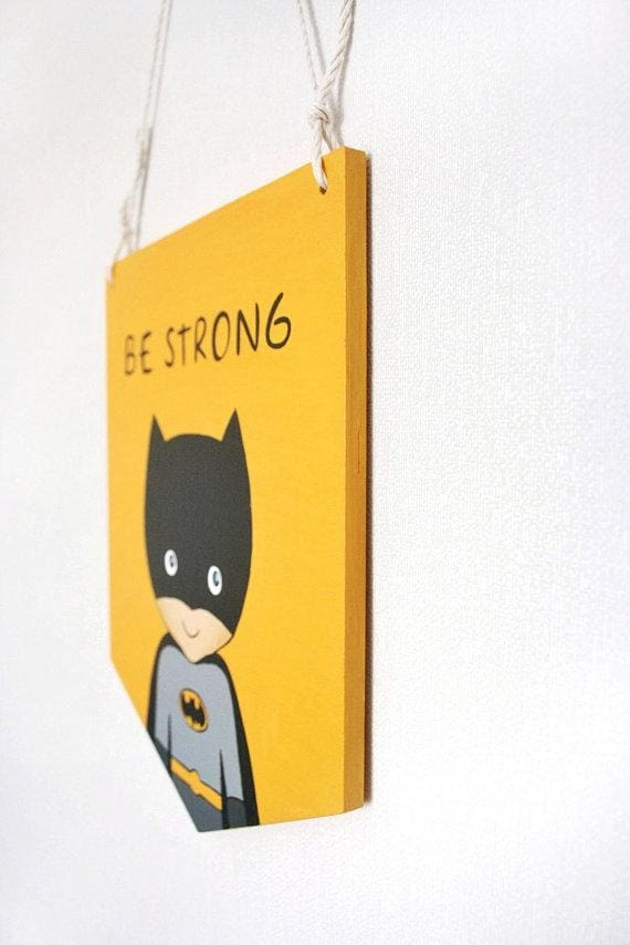 Hand Painted Batman Wood Sign - Sign