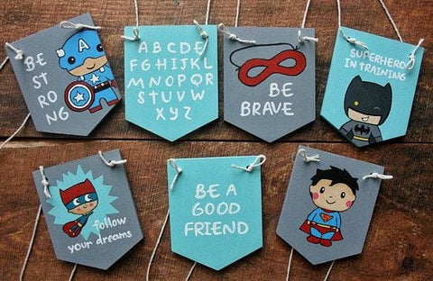 Hand Painted Superhero Wood Decor Set - Sign