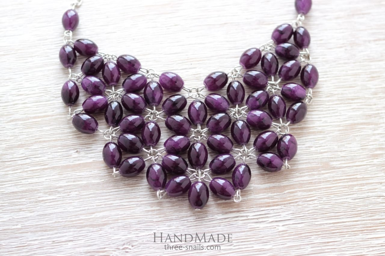 "Handcrafted Chunky Necklace ""Arden lilac"" - 1"